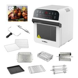 12.7 Qt. Electric Air Fryer White Rotisserie Oven with Inter