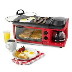 3-in-1 4-Slice Breakfast Station Toaster Oven with Glass Gri