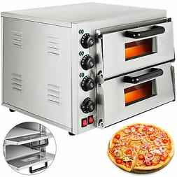 Electric 3000W Pizza Oven Double Deck Commercial Toaster Bak