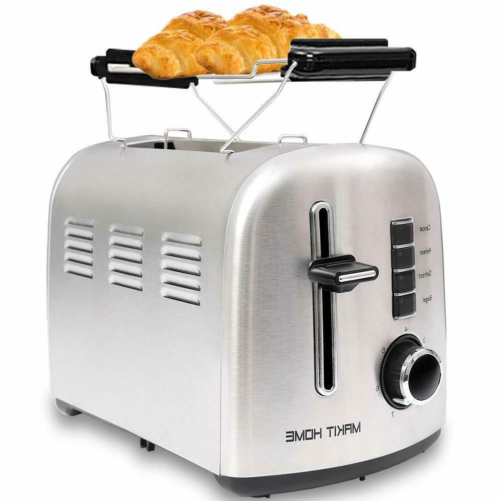 2 Slice Compact Toaster Stainless Steel Extra Wide Slot with