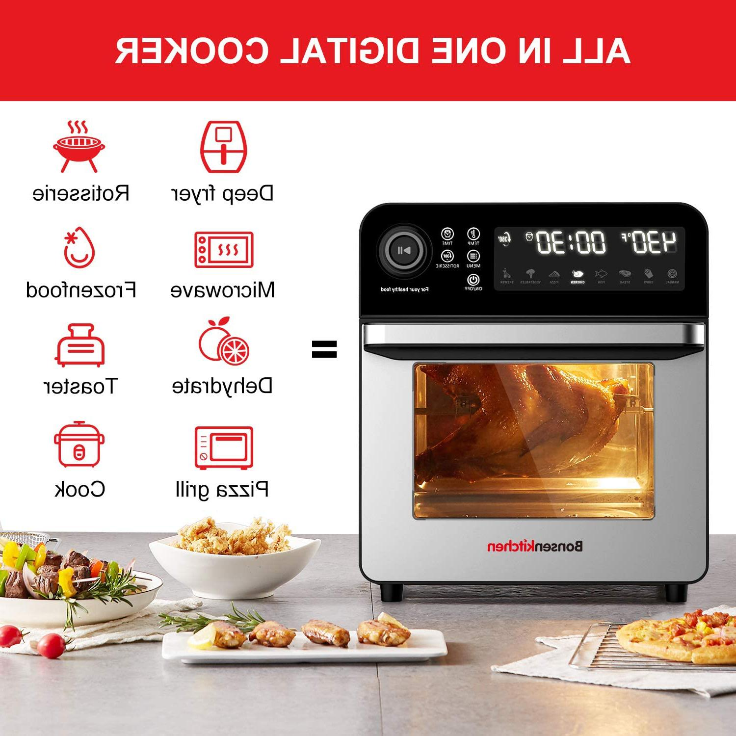 Bonsenkitchen Fryer With Rotisserie 15.3Qt Roster Toaster Oven