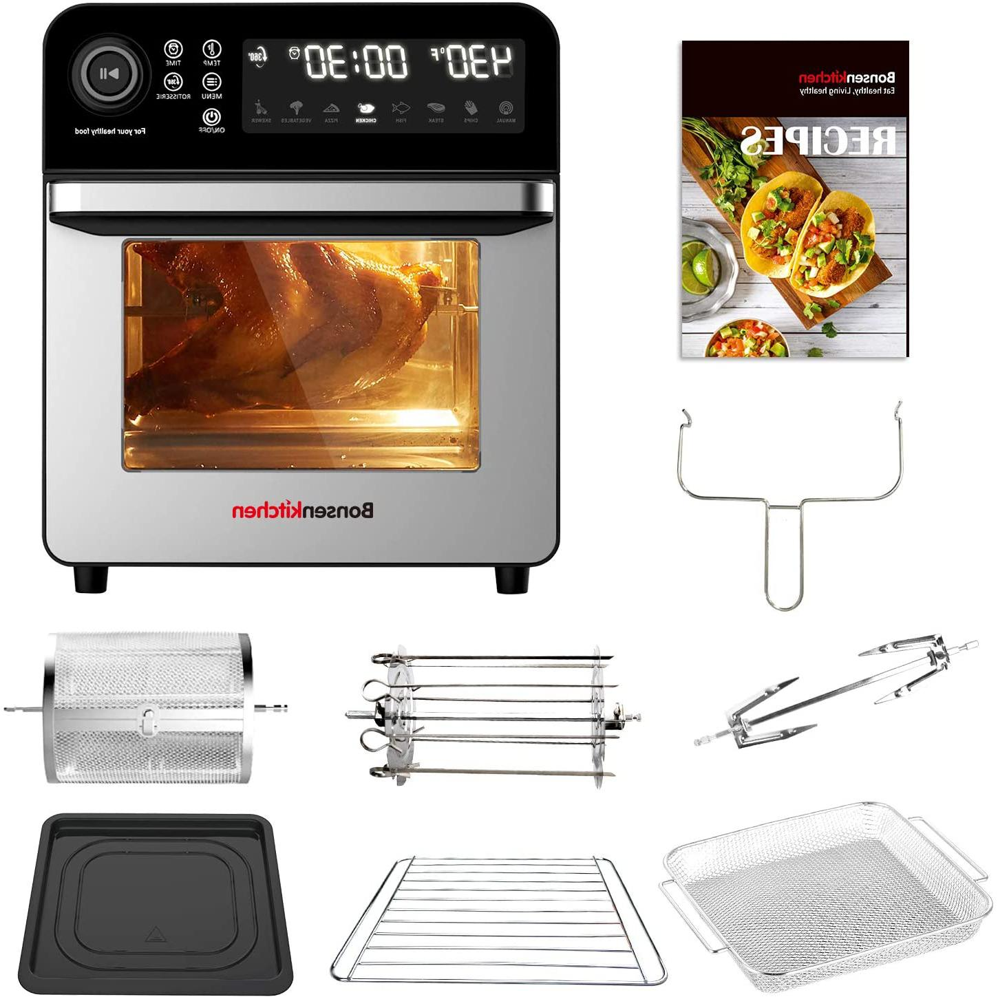 Bonsenkitchen Air With Rack 15.3Qt Roster Toaster Oven