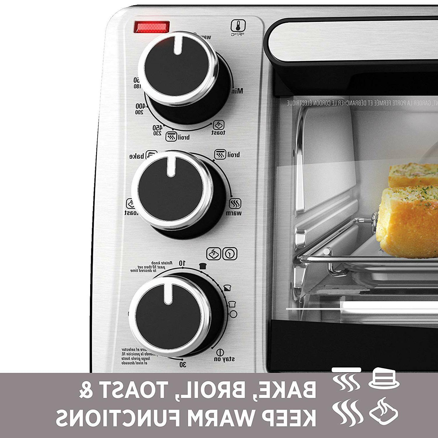 Stainless Steel Countertop Toaster Oven Baking Cooking Black