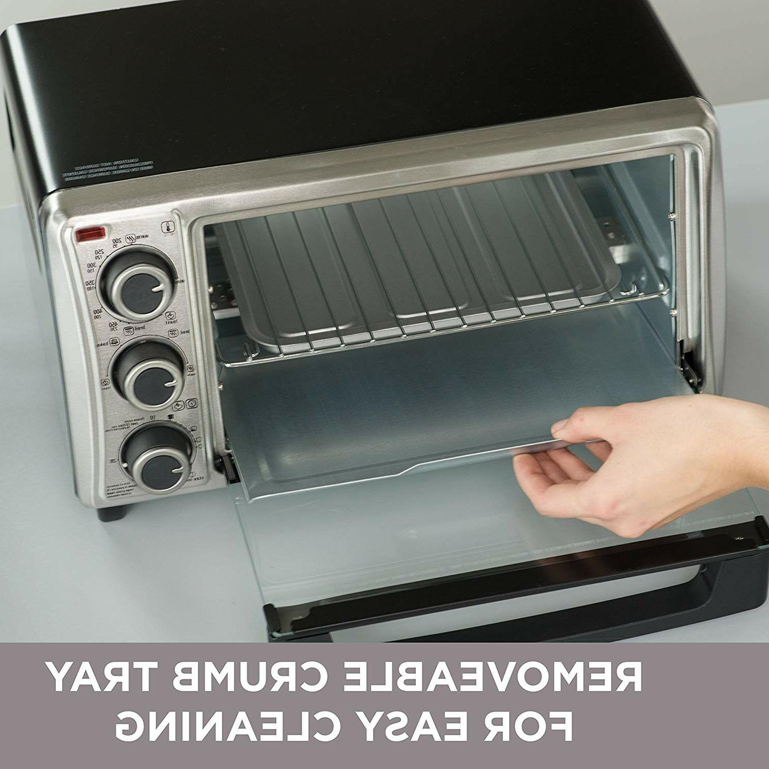 Stainless Steel Convection Countertop Toaster Oven Baking Black