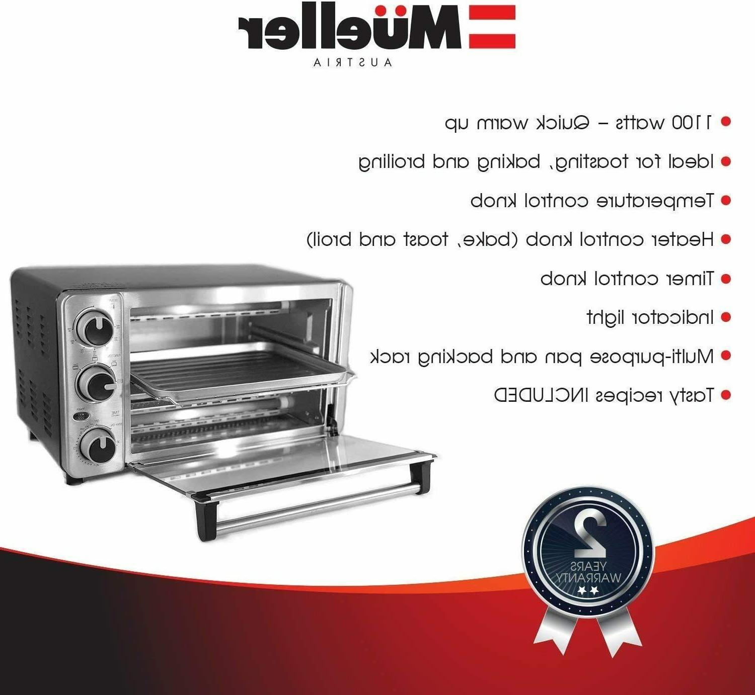 Toaster Oven 4 Slice, Multi-function Steel with