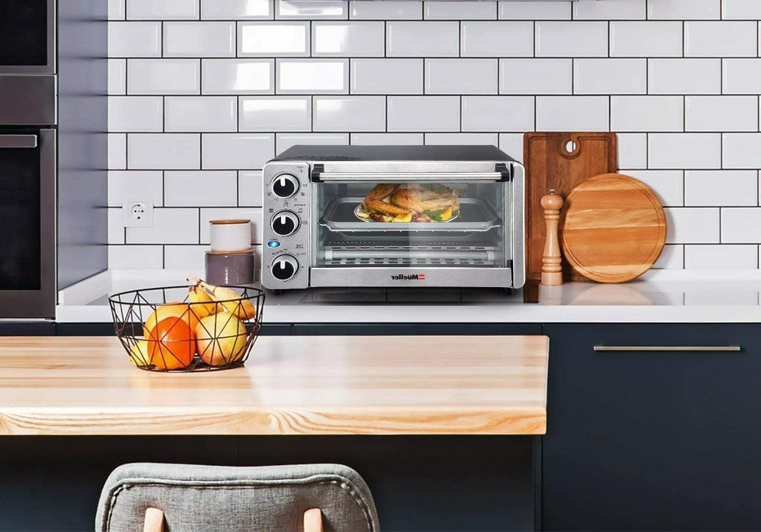 Toaster Oven 4 Slice, Multi-function Stainless Steel with