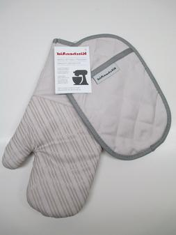KitchenAid oven mitt pot holder set silicone tan/gray milksh