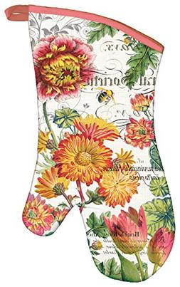 Michel Design Works Padded Cotton Oven Mitt, Blooms and Bees